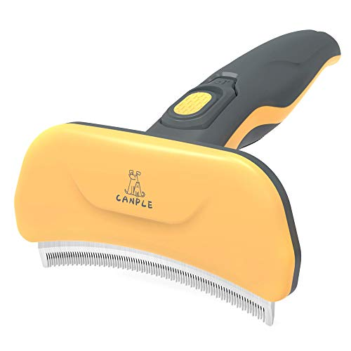 Canple Deshedding Brush Groom Comb Curved Edge Long amp Short Teeth Undercoat Grooming amp Shedding Tool for Short Medium and Long Hair Dogs and Cats 4 inches