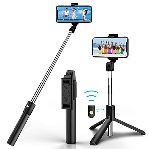 Selfie Stick Stativ, Bluetooth Selfie Stick Stativ, 3 in 1 360° Drehbar Mini Erweiterbar Aluminium Selfiestick Kompatibel mit iPhone 12 Pro Max, 12 Mini, 11 Pro Max, Samsung S20 Plus, HuaWei usw