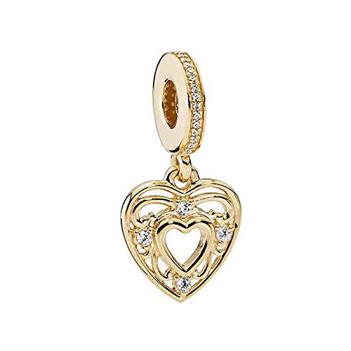 925 Plata Tía Cuenta Oro Romántico Corazón Colgante Encanto Moda Mujer Pandora Pulsera Brazalete Regalo Diy Joyería Regalo De Vacaciones Para Novia