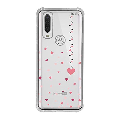 Capa Anti-Impacto Personalizada para Motorola One Action - Coração Mobile - Husky