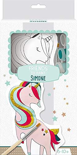 Clairefontaine-Un Kit Friends to Paint comprenant un Animal en Coton imprimé à peindre, Simone la Licorne para Pintar, Color Unicornio (PP035C)