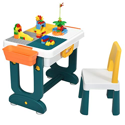 Costzon 5 in 1 Kids Multi Activity Table and Chair Set, Building Block Table w/Double-Sided Board, Storage, Children Draw Table w/Pen Folding to Toddler Luggage, Sand Table for Boys & Girls
