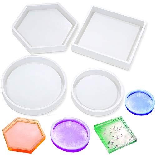 Daimay - Moldes de silicona para moldear moldes cuadrados de resina epoxi para fundir con cemento de resina y cemento decoración del hogar, 4 unidades