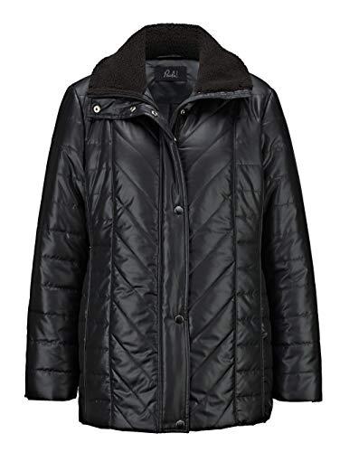 Paola Damen Jacke mit Umlegekragen in Schwarz mit Fellkragen