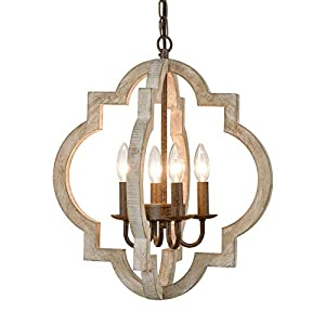 Modern Farmhouse White Wood Chandeliers Dining Room Pendant Chandelier Wooden French Country Chandelier