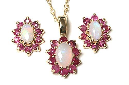 Peninsula Jewellery - Parure con ciondolo, catenina e orecchini coordinati con opale e rubino a grappolo, in oro 9 kt