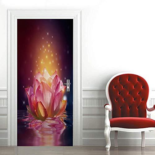 XMDPFF Vinilos Para Puertas Zen flor abstracta95x215cm Mural Póster Arte Papel Tapiz Autoadhesivo Calcomanías De Puerta Extraíbles Vinilo Decoración De Oficina