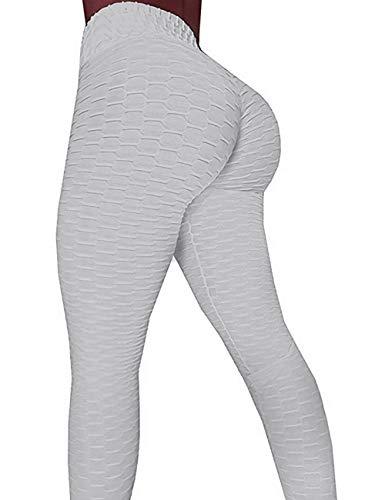 A Agroste - Pantalones de yoga de cintura alta para mujer, con textura, mallas elásticas, para ejercicio de control de abdomen y levantamiento de glúteos, XL, 1-gris
