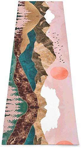 Toalla De Yoga Antideslizante,Sunset Landscape Printing Eco-Friendly Fitness Exercise Mat,Tapetes De Meditación,Ejercicios De Piso Impresos &Pilato Fitness Mat Para Mujer 183×61cm