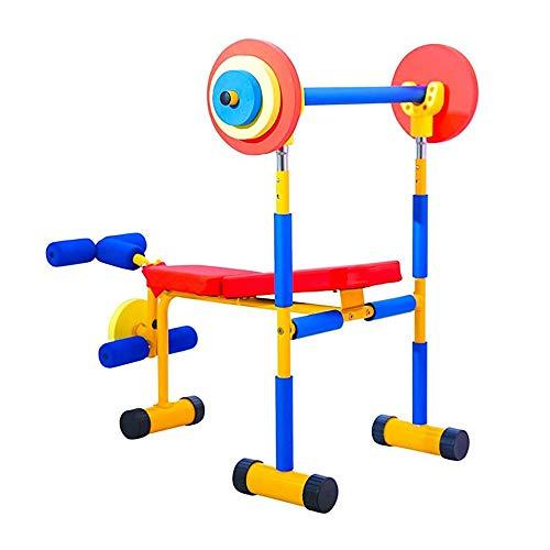 Attrezzatura per esercizi per bambini, set panca pesi, rivestimento in schiuma di materiale d\'acciaio di alta qualità Colori luminosi sicuri e protetti, per la pratica dei parchi familiari dell\'asilo