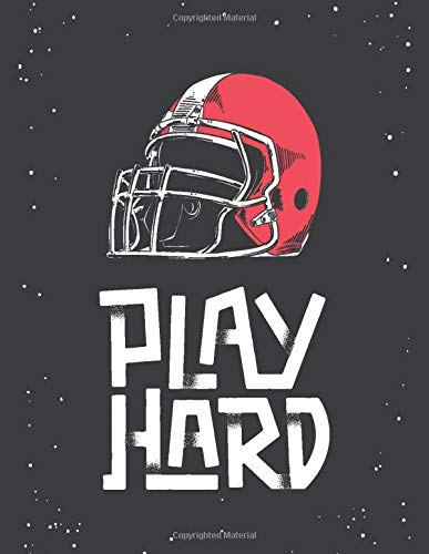 Play Hard: Football Coach Playbook and blank field diagrams for drawing plays, creating drills, and writing notes