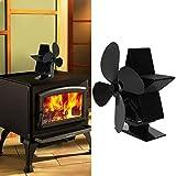 Germerse Ventilador de Calor, Ventilador de Estufa de leña, Ventilador de Calor para Chimenea, para distribución de Calor Mejore la circulación de Aire Caliente en el hogar Durable(Black)
