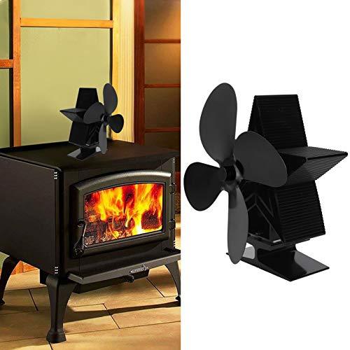 Ventilador de calor Ventilador de estufa duradero Ventilador de calor para chimenea para distribución de calor Sala de estar(negro)
