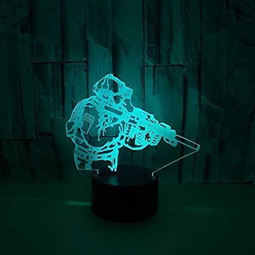 Verlichting voor kinderlampen met motieven, LED-tafellamp soldier, usb-set, kleuren, lichtschakelaar, kleurverandering, afstandsbediening en touch-stijl