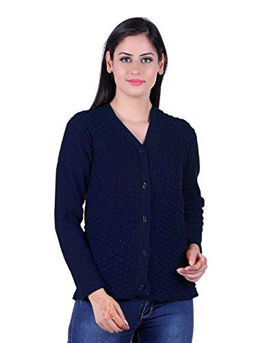 eWools Women Ladies Girls Winter Wear Woollen Button Top Cardigans Sweaters (Lycra Cardigans) Navy Blue