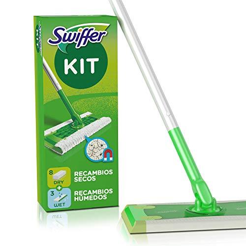 Swiffer Mopa + 8 Recambios Secos + 3 Húmedos, Kit, Ideal para Suelos de Madera, Cerámica y Vinilo