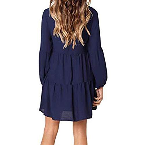 Lässiges sexy Kleid Frühling Sommer Frauen Solid Laterne lange Ärmel Partykleid V-Ausschnitt drapiert knielang Kleid Gr. XXXXXL, blau
