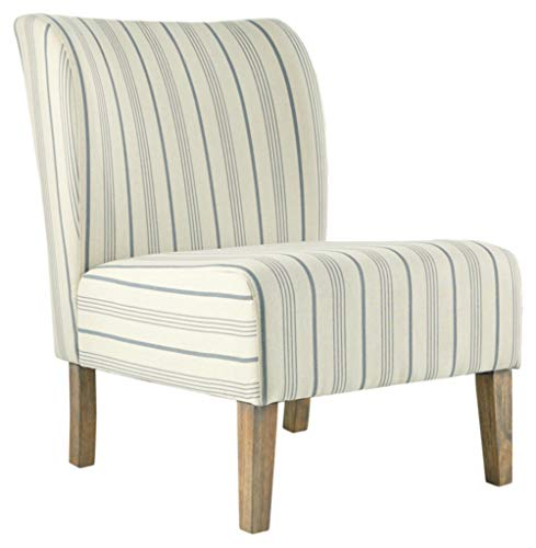 Signature Design by Ashley Triptis Casual Armless Accent Chair, Cream with Blue Pinstripe