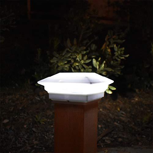 8 Pack White Outdoor Garden 4 x 4 Solar LED Post Deck Cap Square Fence Light Landscape Lamp Lawn PVC Vinyl Wood