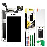 Screen Replacement for iPhone 6S White,Hkhuibang 4.7'' LCD Display 3D Touch Screen Digitizer Full Frame Assembly with OEM Front Camera Proximity Sensor Earpiece Speaker Repair Tool,Only for 6S