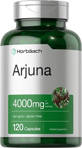 Horbaach Arjuna Standardized 4000 mg 120 Capsules | Supports Heart Health | Non-GMO, Gluten Free | from Arjuna Bark Herb Extract