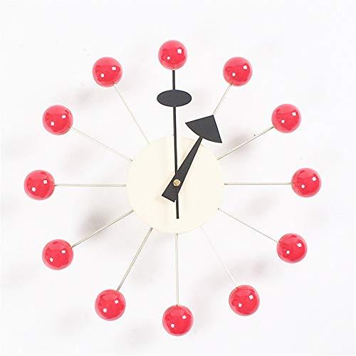 掛時計 12インチフレームレス芸術的なウォールボールクロック木製の装飾的な電池式のクォーツ時計番号なし秒針サイレントティッキングウォールアートの装飾カラフルな木製ボール用リビング お洒落 デザインウォールクロック (色 : 赤, サイズ : 19inches)