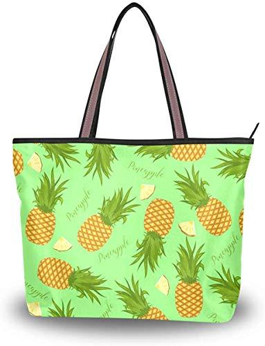 Leila Marcus Damen-Handtasche mit Tragegriff, Ananas und Scheiben