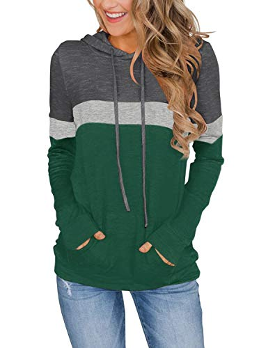 Women's Long Sleeve Color Block Tops Casual Tunic Fashion Hoodies with Pockets Green Large