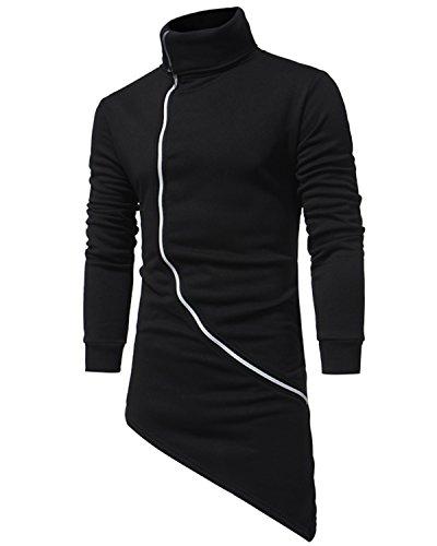 JOLIME Sudadera Largo Zip Cardigan Cuello Alto Chaquetas Asimétrico Hip Hop Abrigo para Hombre Negro EU S=Tag L