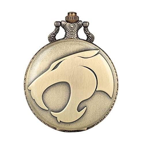XXCHUIJU Animal Leopardo Cabeza Figura Cuarzo Bolsillo Reloj Retro Collar Bronce Colgante Cadena Reloj Fob Relojes