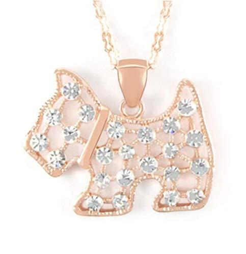 Quadiva E! - Collar para mujer con colgante de perro (oro rosa) decorado con cristales brillantes de...