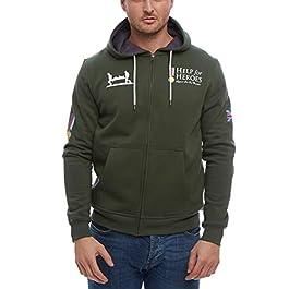 Help for Heroes Zipped Hoodie Hooded Sweater Military Green