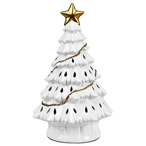 Productworld258 11' Pre-Lit Ceramic Hollow Christmas Tree with LED Lights
