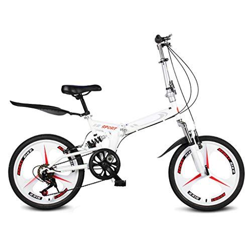 TYXTYX Bicicleta Plegable de 20 Pulgadas, 6 velocidades,Bikes Bicicleta Plegable Urbana Folding Park,para Ciudad,Blanco