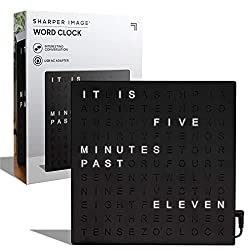 """SHARPER IMAGE Light Up Electronic Word Clock, Black Finish with LED Light Display, USB Cord and Power Adapter, 7.75"""" Square Face, Unique Contemporary Home and Office Décor Black (Black)"""