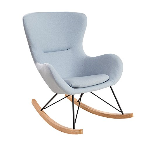 Invicta Interior Design Schaukelstuhl Scandinavia Swing Stoff hellblau Schaukelsessel Sessel Stuhl Wohnzimmersessel