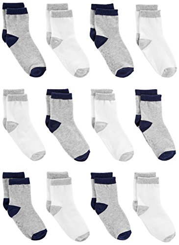 Simple Joys by Carter's Baby Boys' 12-Pack Sock Crew, Gray, White, 0-6 Months