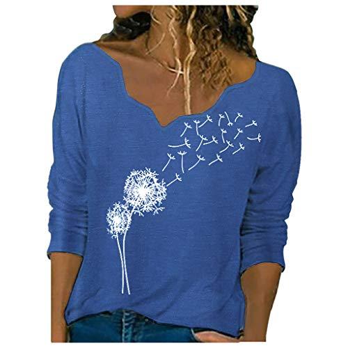 KissYou Tops für Frauen Lässige Langarmhemden Eleganter Print V-Ausschnitt Pullover...
