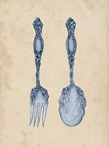 Feeling at home IMPRESSION-sur-TOILE-ENROULÉE-Antique-Ustensiles-II-Wang-Melissa-Nourriture-Affiche-imprimer-sur-toile-enroulée-100% coton-pour-décoration-murale-Dimensions-51_X_37_cm