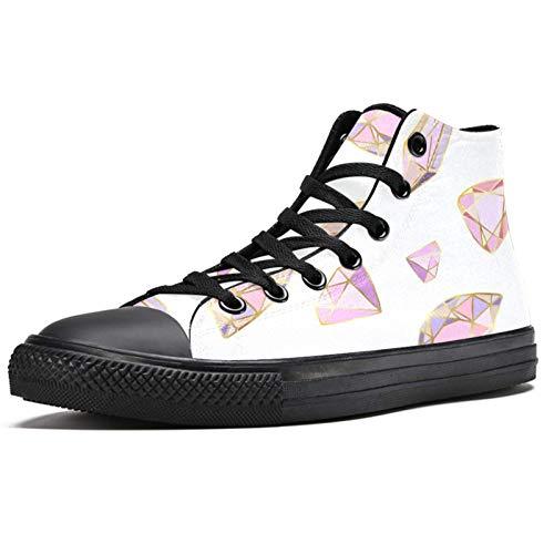 Anmarco Rosa Cristales y Gemas Alta Superior Zapatillas para Mujer Adolescente Gilrs Moda Encaje Hasta Zapatos de Lona Casual Escuela Pasear Zapato, color Multicolor, talla 41 EU