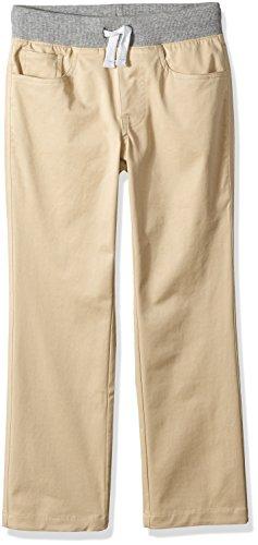 Spotted Zebra Boys' Kids Pull-On 5-Pocket Pants, Khaki, Large