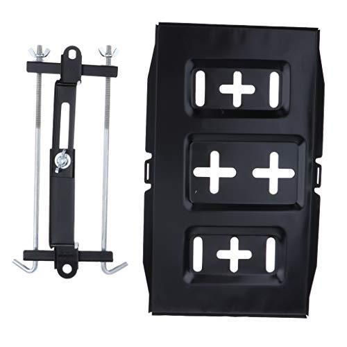 KESOTO Batteriehalterung Batteriebefestigung Batteriehalter aus Edelstahl für Auto Boot Jacht Wohnwagen - Schwarz, 34cm Tablett + 27cm Halter