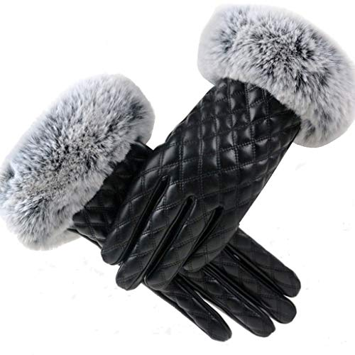 Women Touchscreen Leather Gloves Plaid Rabbit Fur Cuff Soft Fuzzy Shaggy Lined Fashion Ladies Winter Warmth Waterproof Gloves for Cold Weather Outdoor Activities (Black)