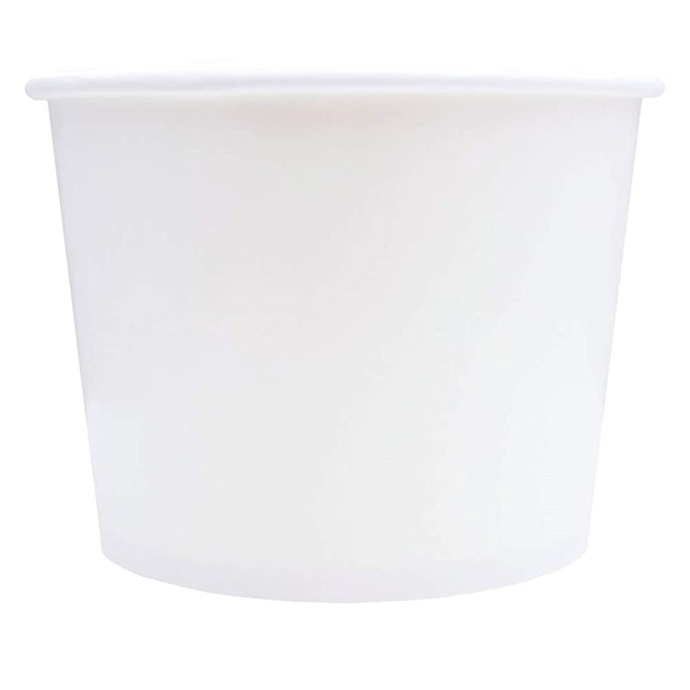 White Paper Ice Cream Cups - 16 oz Disposable Dessert Bowls - Comes In Many Colors With Fast Shipping! Frozen Dessert Supplies - 50 Count