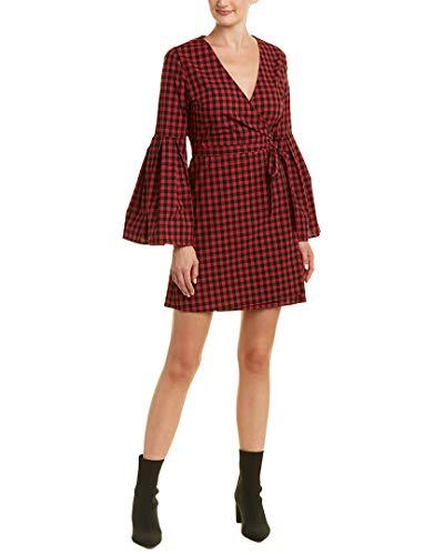 Jack by BB Dakota Junior's Alter Ego Gingham Bell Sleeve Wrap Dress, Ruby, Large