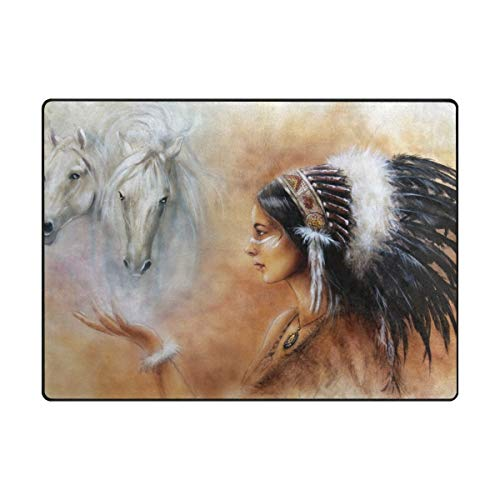 """My Little Nest Area Rug Indian Woman and Two White Horse Lightweight Non-Slip Soft Mat 4'10"""" x 6'8"""", Memory Sponge Indoor Outdoor Decor Carpet for Living Dining Room Bedroom Office Kitchen"""