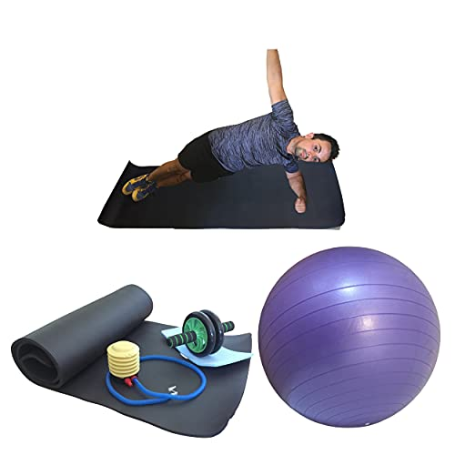 Kit abdominal compuesto por 3 accesorios: 1 gimnasio ball con inflador, 1 alfombrilla de fitness y yoga, 1 rueda abdominal para muscular abdominales, pérdida de grasa, pérdida de vientre en casa.