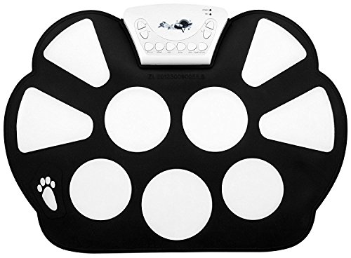 Top-Longer Electrónico Enrolle Drum Pad Kit Silicio Plegable-Tambor portátil y profesional