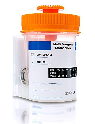 Drogenschnelltest für 8 Drogen I Integrierter Urinbecher und 2 Einweghandschuhe I Drogentest Multi Urintest