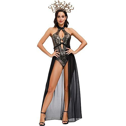 Uteruik Disfraz de Medusa de Halloween con diadema de serpiente impresa de una pieza de control de barriga trajes de baño Cosplay Halloween fiesta de Navidad traje para mujeres (M)